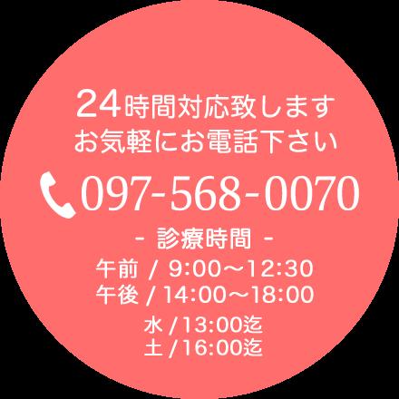 24時間対応致します。お気軽にお電話下さい。097-568-0070 【診療時間】午前/9:00〜12:30 午後/14:00〜18:00 水/13:00迄 土/16:00迄